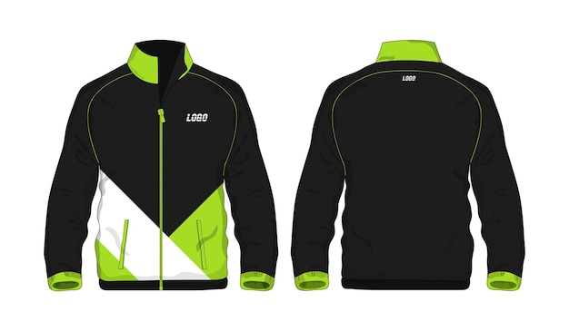 Sport jacket zielony i czarny szablon do projektowania na białym tle. ilustracja wektorowa eps 10.