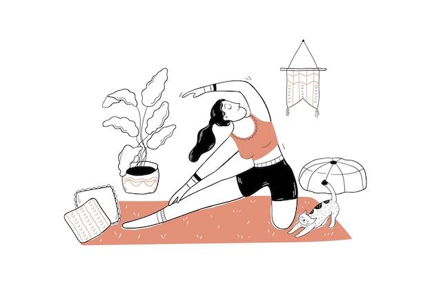 Sport, joga, relaks ilustracja koncepcja medytacji