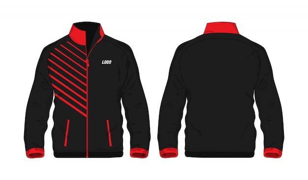 Sport kurtki czerwony i czarny szablon dla projekta na białym tle. wektorowa ilustracja eps 10.