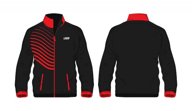 Sport kurtki czerwony i czarny szablon dla projekta na białym tle.