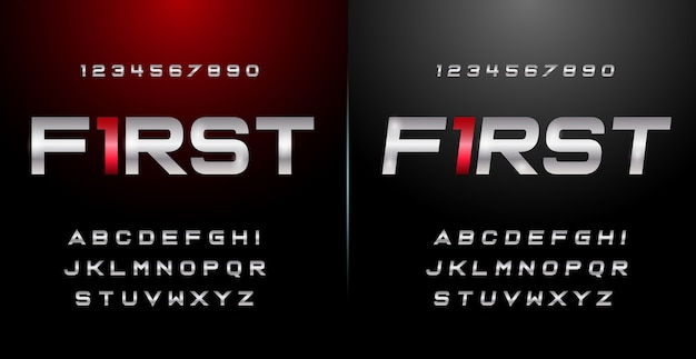 Sport modern alphabet font and number set. czcionki typu miejskiego