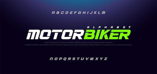 Sport nowoczesna kursywa alfabet typografia miejska czcionka