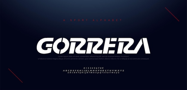 Sport nowoczesne czcionki i liczby kursywą alfabetu. typografia, technologia abstrakcyjna, moda, cyfrowa, przyszła kreatywna czcionka logo.