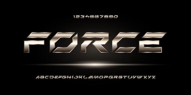 Sport nowoczesny futurystyczny alfabet typografia miejskiego stylu