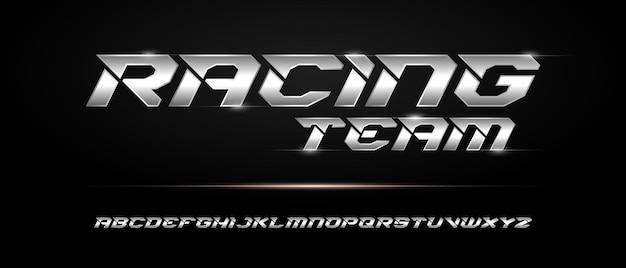 Sport nowoczesny futurystyczny szablon czcionki alfabetu