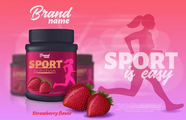 Sport nutrition with strawberry flavour