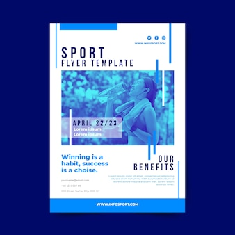 Sport plakat szablon z wodą pitną kobiety