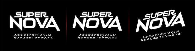 Sport przyszłe nowoczesne czcionki alfabetu. technologia typografii
