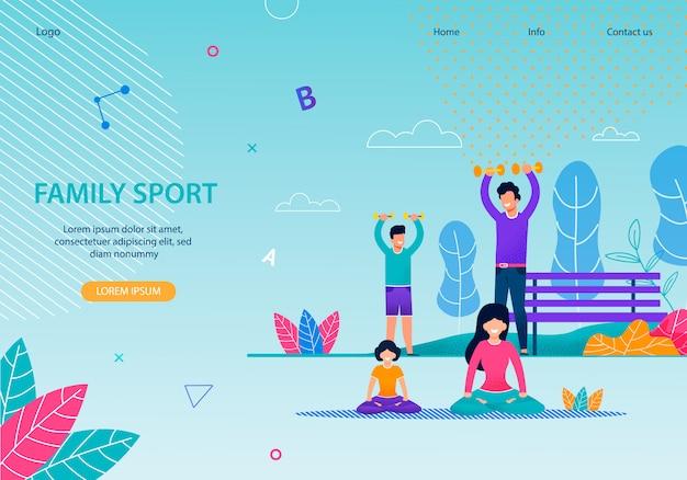 Sport rodzinny zdrowy szablon transparent płaski zespół