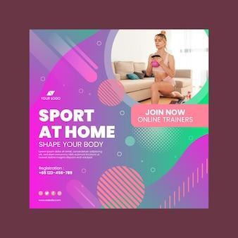 Sport w domu kwadratowy szablon ulotki