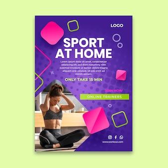 Sport w domu pionowy szablon ulotki