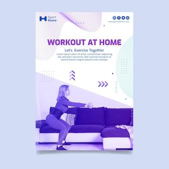 Sport w domu projekt szablonu pionowej ulotki