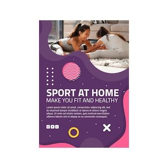 Sport w domu ulotka pionowa