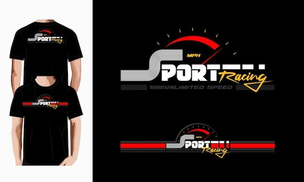 Sport wyścigowy typografia wektor wzór koszulki wektor premium