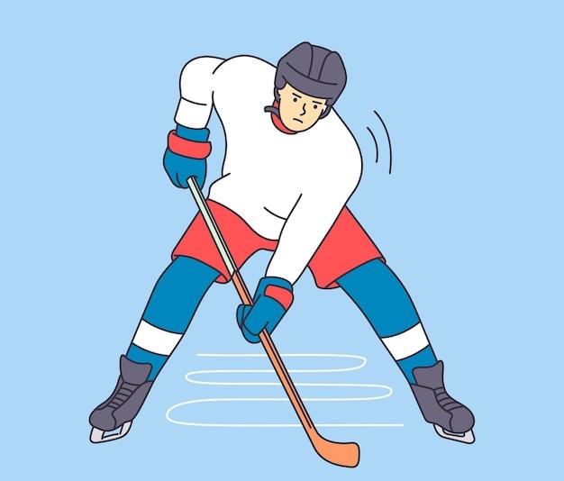 Sport zawodowy i styl życia. młody człowiek hokeista