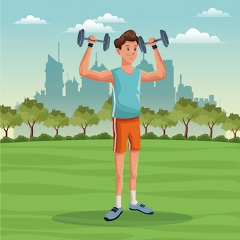 Sporta mężczyzna stylu życia parka miasta tło
