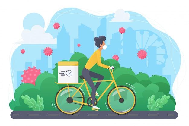 Sportive szczupła kobieta na bicyklu w maskowej pojęcia mieszkania ilustraci