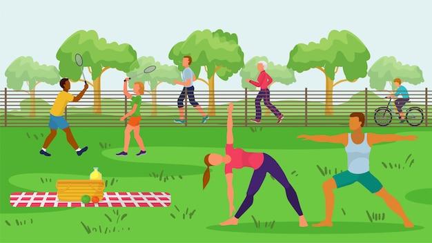Sportów ludzie w parkowej plenerowej ilustraci. aktywność w naturze, mężczyzna kobieta postać jeździć na rowerze, robienie ćwiczeń