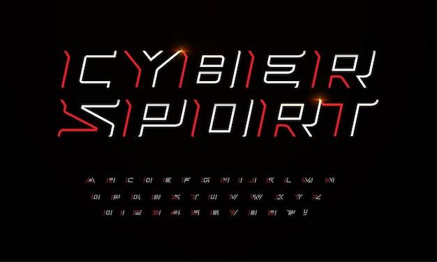 Sportowa, futurystyczna czcionka z ostrymi kątami i cienkimi liniami nakreśla litery i cyfry do gry