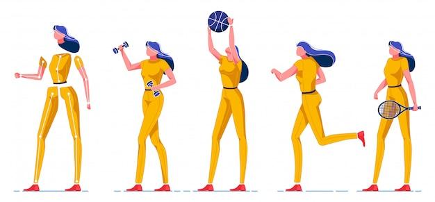 Sportowa kobieta gra różne rodzaje gier płaskie.