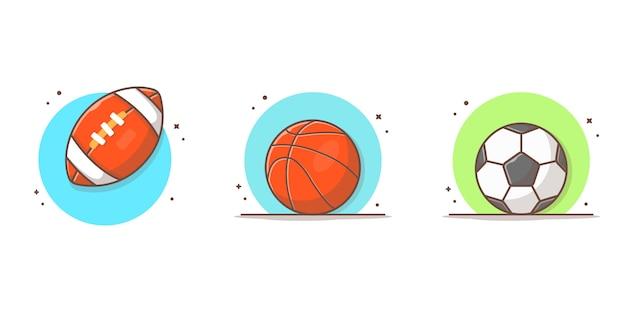 Sportowa kolekcja ikona ilustracja piłki