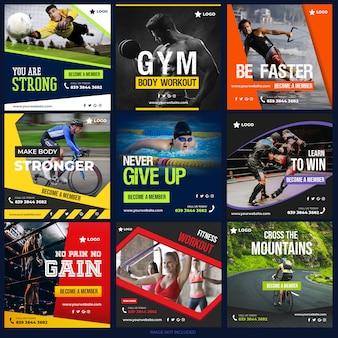 Sportowa kolekcja postów w mediach społecznościowych do marketingu cyfrowego