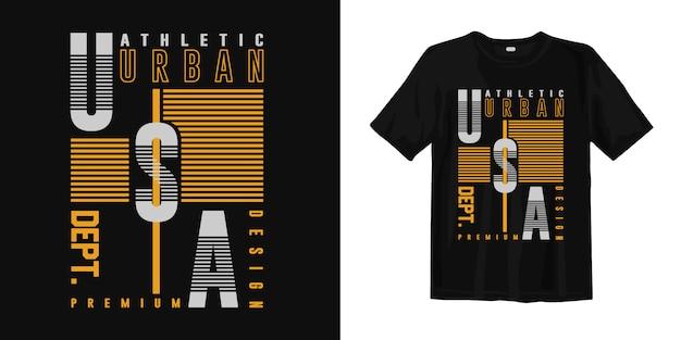 Sportowa koszulka sportowa z geometryczną typografią usa do druku
