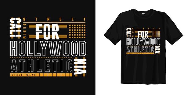 Sportowa koszulka z grafiką z napisem california hollywood