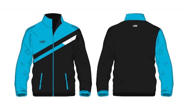 Sportowa kurtka błękitna i czarna t ilustracja
