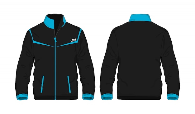 Sportowa kurtka błękitny i czarny szablon dla projekta na białym tle.