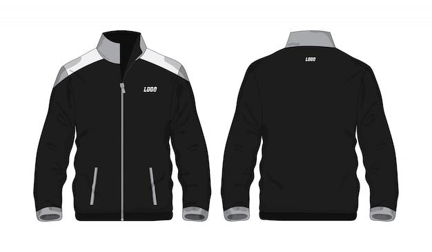 Sportowa kurtka popielata i czarna ilustracja