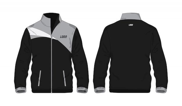 Sportowa kurtka szaro-czarna szablon koszula dla projekta na białym tle. wektorowa ilustracja eps 10.