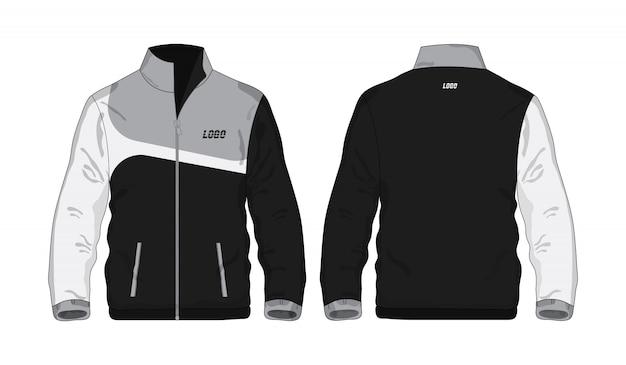 Sportowa kurtka szaro-czarna szablon koszula dla projekta na białym tle.