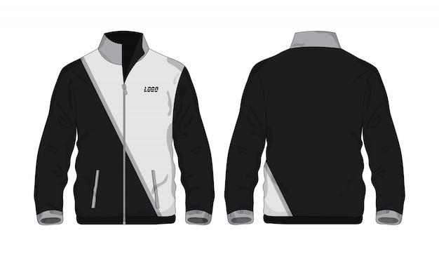 Sportowa kurtka szaro-czarna szablonowa koszula dla designu.
