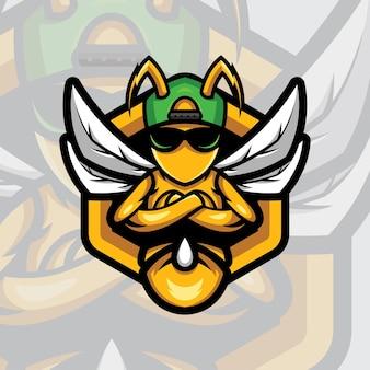 Sportowa maskotka z logo pszczoły z nowoczesnym stylem ilustracji do odznaki