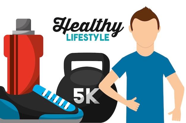 Sportowa mężczyzna ciężaru woda i tenisówka zdrowy styl życia