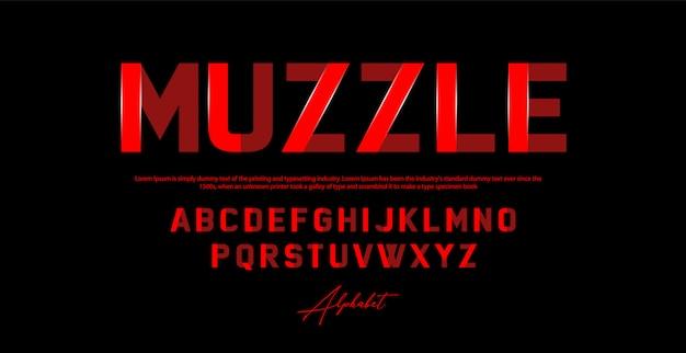 Sportowa nowoczesna czcionka alfabetu. czcionki typu miejskiego
