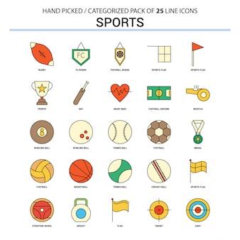 Sportowa płaska linia ikona ustawia biznesowego pojęcie ikon projekt