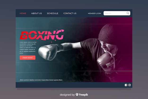 Sportowa strona docelowa boksu
