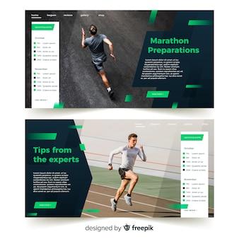 Sportowa strona docelowa maratonu ze zdjęciem