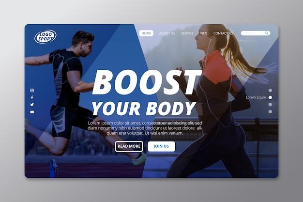 Sportowa strona docelowa z osobami prowadzącymi zdjęcia