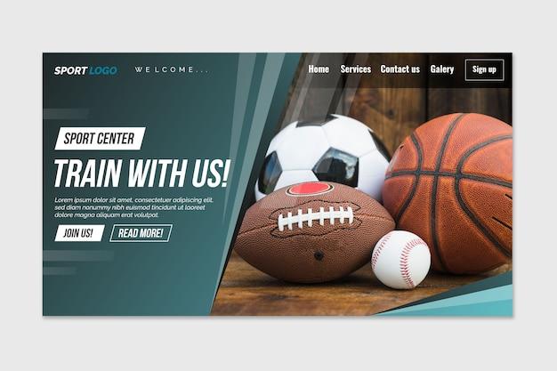 Sportowa strona docelowa z szablonem zdjęcia