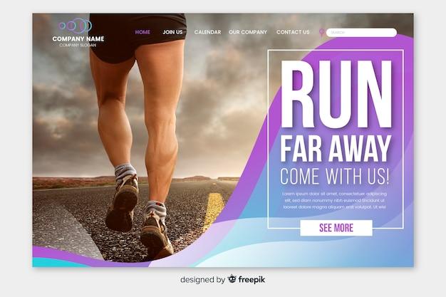 Sportowa strona docelowa ze zdjęciem biegacza