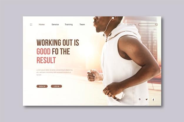 Sportowa strona docelowa ze zdjęciem biegnącego człowieka