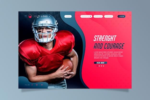 Sportowa strona docelowa ze zdjęciem gracza rugby
