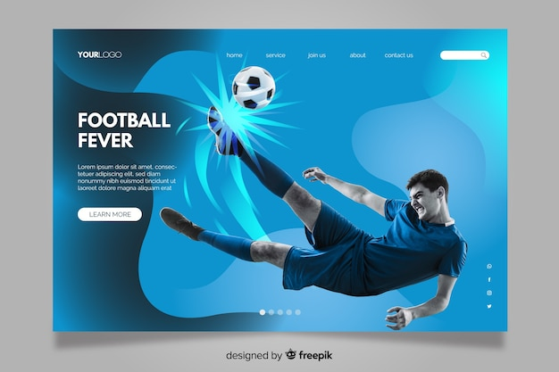 Sportowa strona docelowa ze zdjęciem