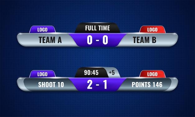 Sportowa tablica wyników konkurencji nowoczesny projekt wektor dla dolnej trzeciej transmisji telewizyjnej szablon graficzny