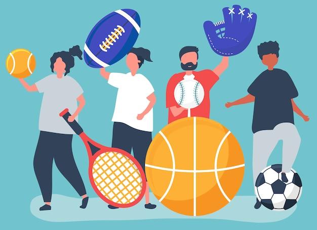 Sportowców przewożących różne ikony sportu