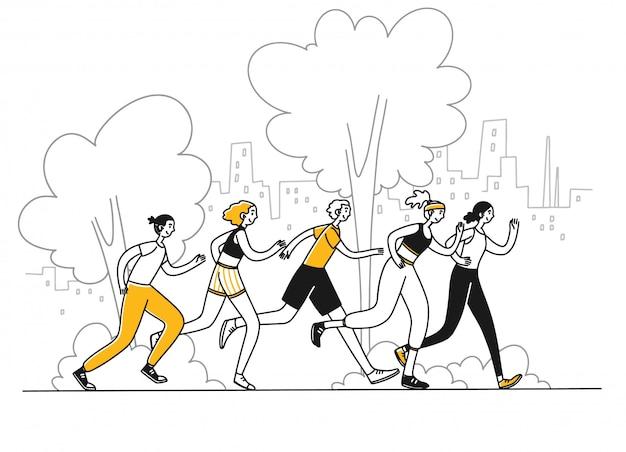Sportowcy biegnący w maratonie