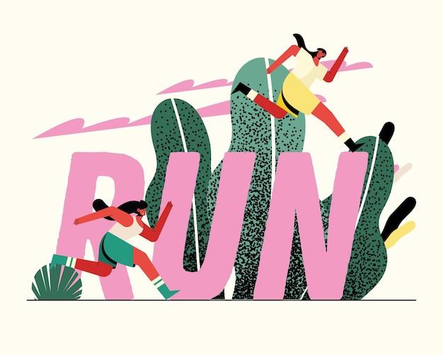 Sportowcy młodych kobiet biegających w parku z ilustracją słowa